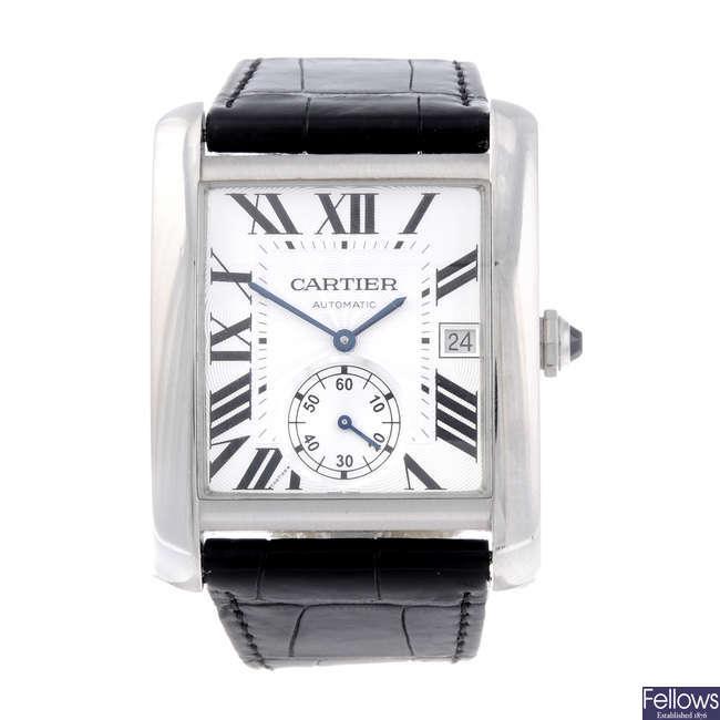 CARTIER - a stainless steel Tank MC wrist watch.