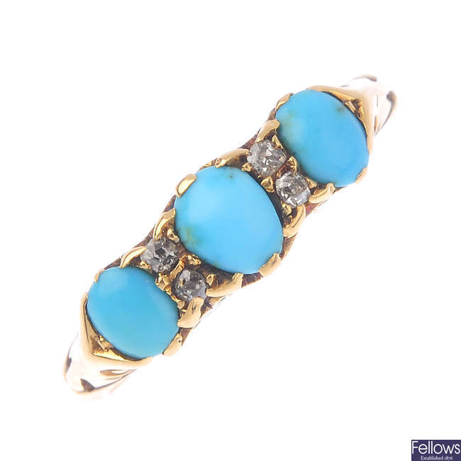 An Edwardian 18ct gold turquoise and diamond ring.