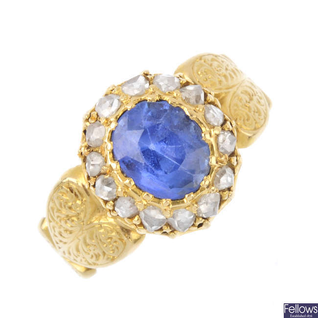 A late Victorian gold, Ceylon sapphire and diamond ring.
