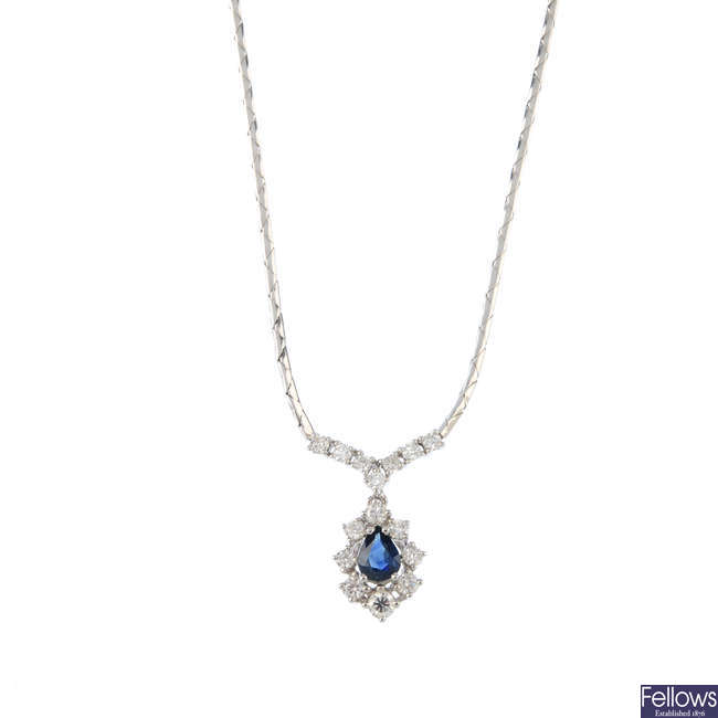 An 18ct gold sapphire and diamond necklace.