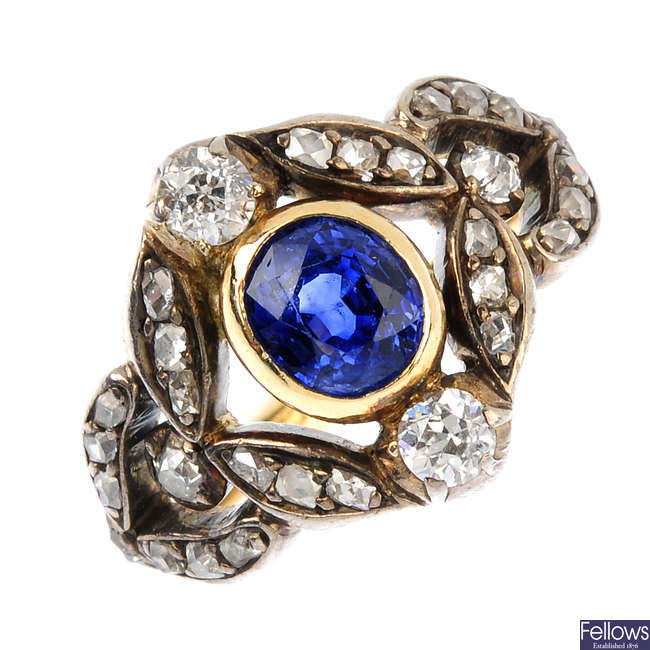 A mid 19th century gold sapphire and diamond ring.