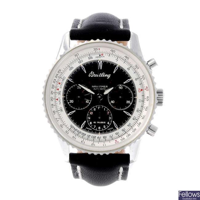 BREITLING - a gentleman's stainless steel Navitimer Montbrillant chronograph wrist watch.
