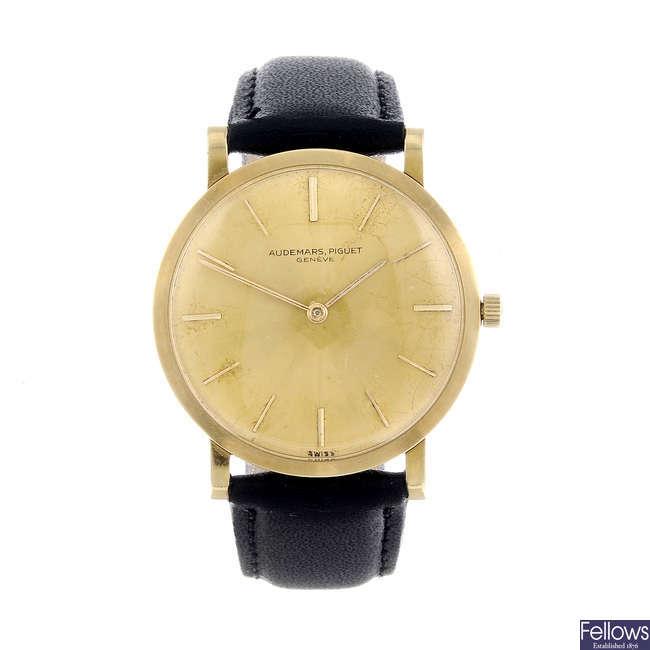 AUDEMARS PIGUET - a gentleman's yellow metal wrist watch.