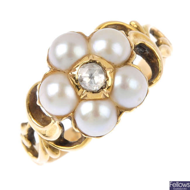 A late Georgian 15ct gold, diamond and split pearl floral cluster ring.