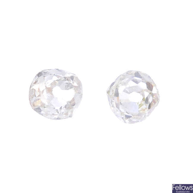 Two old-cut diamonds, weighing 0.20 and 0.20ct.
