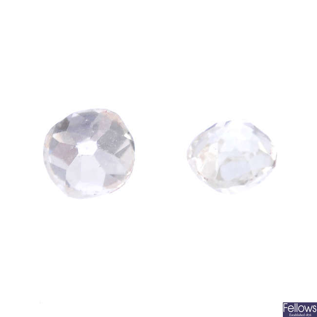 Two old-cut diamonds, weighing 0.25 and 0.25ct.