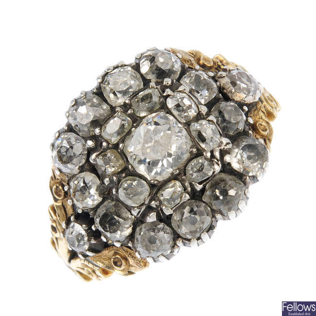 A late Georgian gold and silver diamond cluster ring.