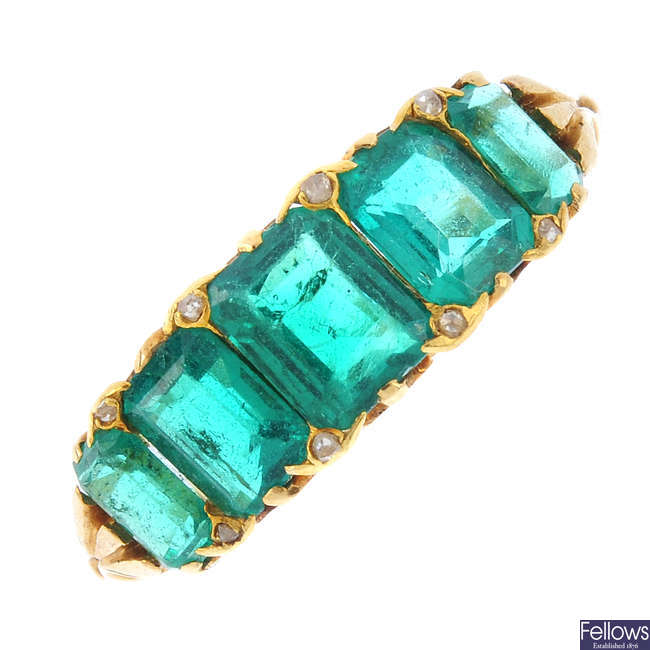 A late Victorian 18ct gold Colombian emerald and diamond ring.