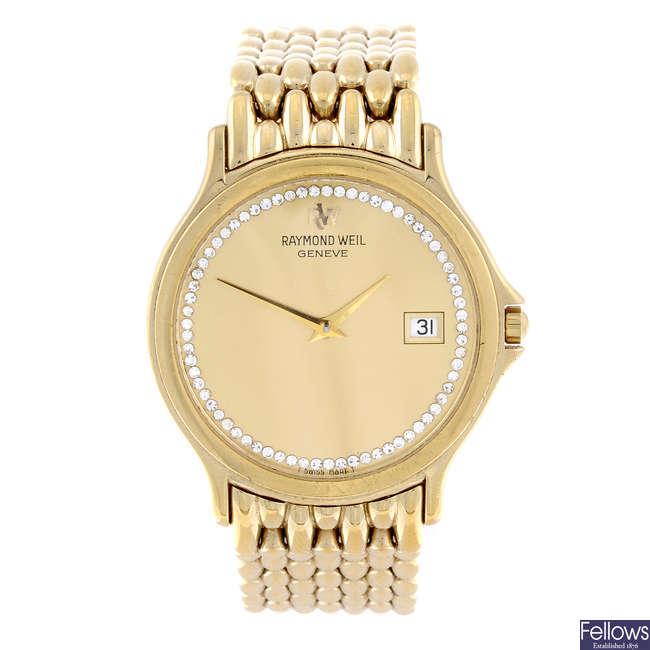 RAYMOND WEIL - a gentleman's gold plated bracelet watch.