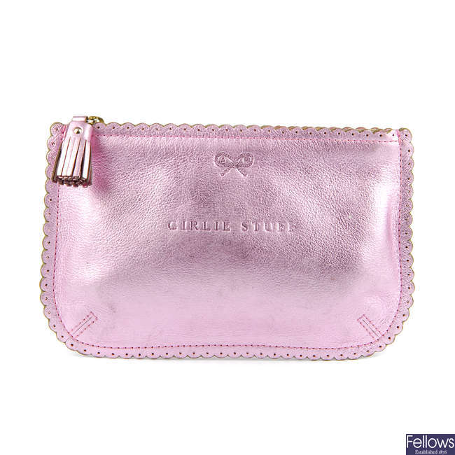 ANYA HINDMARCH - a metallic pink Girly Stuff pouch.