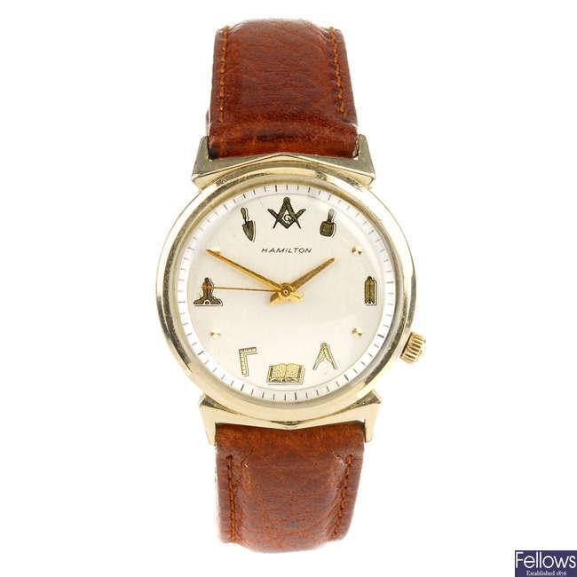 HAMILTON - a gentleman's gold plated Nautilus 404 Masonic wrist watch.