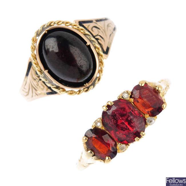 Two gem-set rings.
