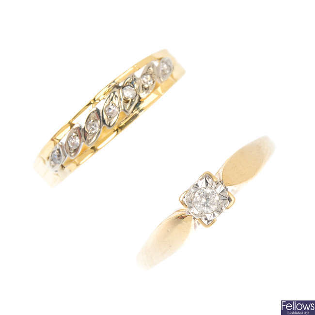 Two gold diamond rings.