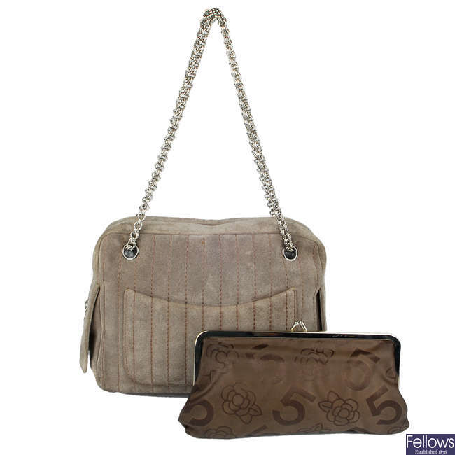CHANEL - a quilted Mademoiselle camera handbag with purse.