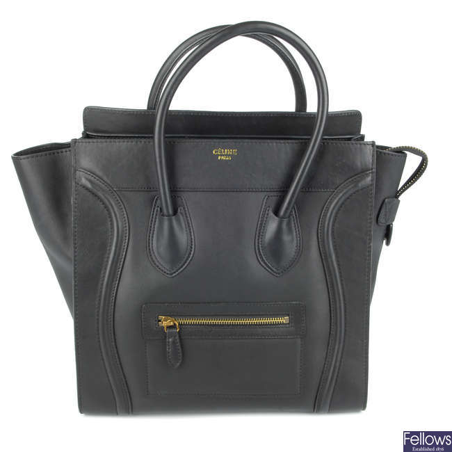 CÉLINE - a black Mini Luggage Tote.