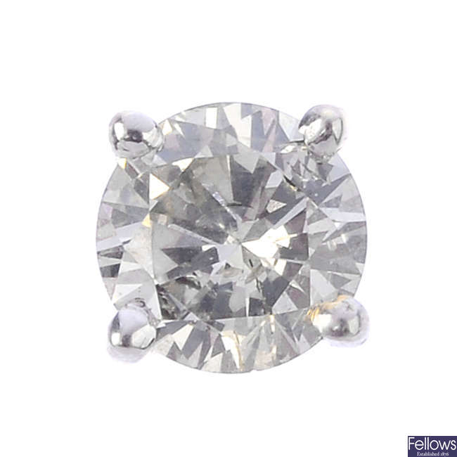 A 9ct gold single brilliant-cut diamond earring.