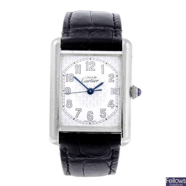 CARTIER - a silver Must De Cartier Tank wrist watch.