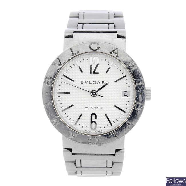 BULGARI - a gentleman's stainless steel Bulgari bracelet watch.