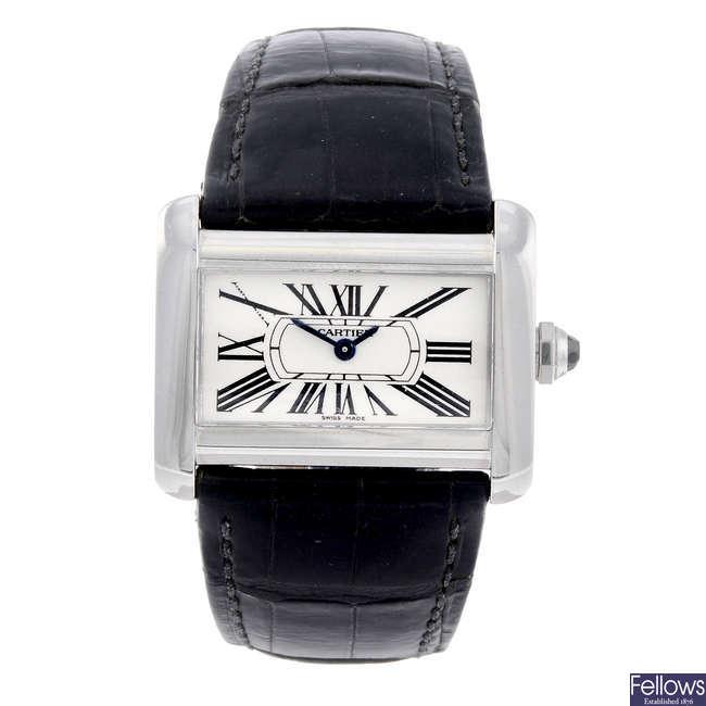 CARTIER - a stainless steel Divan wrist watch.
