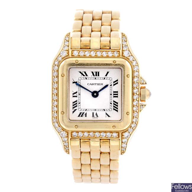 CARTIER - a diamond set 18ct yellow gold Panthere bracelet watch.