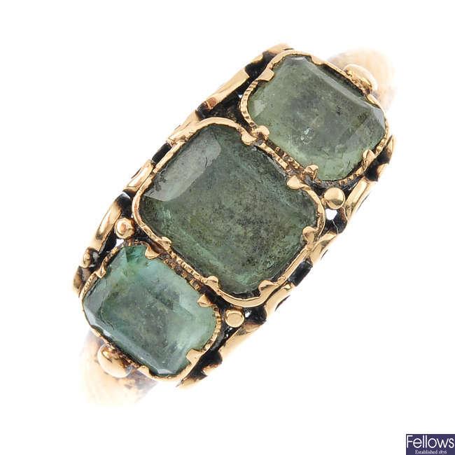 A mid Victorian beryl three-stone ring.