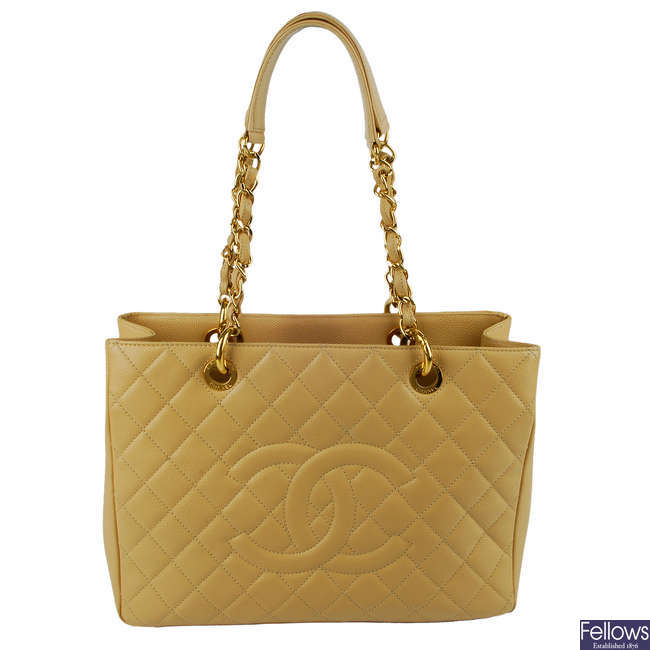 CHANEL - a cream Grand Shopping Tote.