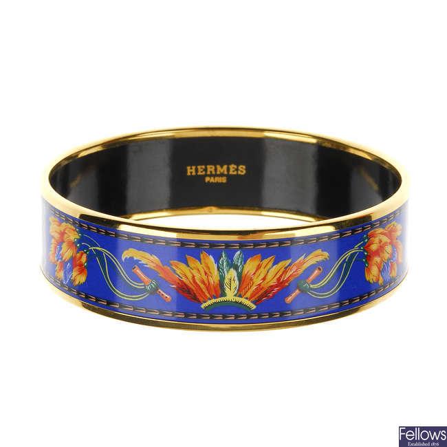 Hermes enamel bangle blue x orange x gold