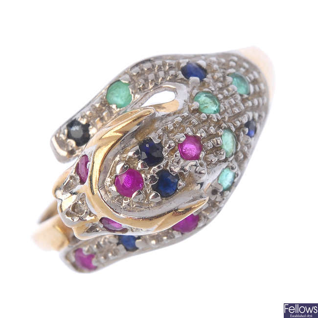 An 9ct gold diamond and gem-set leopard ring.