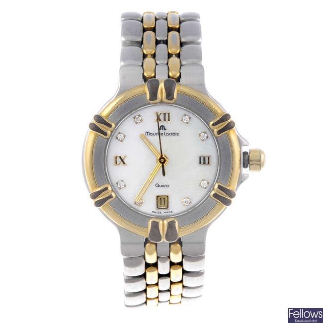 MAURICE LACROIX - a lady's bi-colour Calypso bracelet watch.