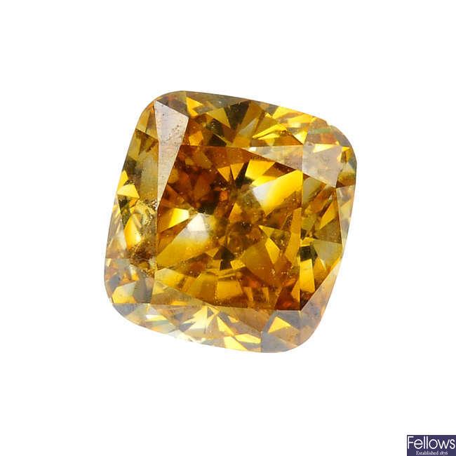 A cushion-shape 'brown-yellow' diamond, weighing 1ct.