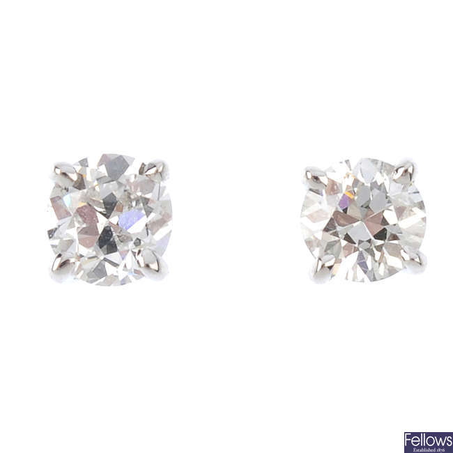 A pair of 18ct gold old-cut diamond stud earrings.