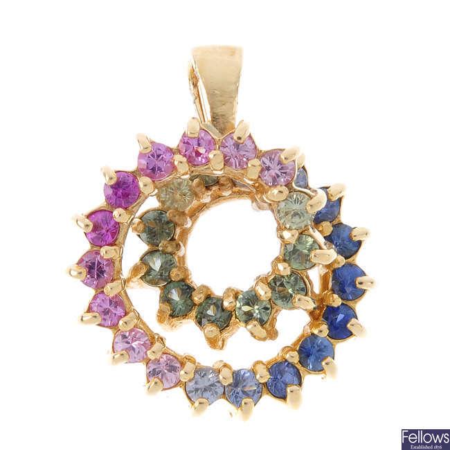 A sapphire pendant.
