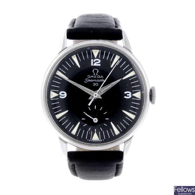 OMEGA - a gentleman's stainless steel Seamaster wrist watch.