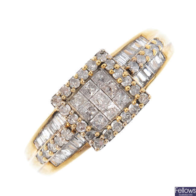 A 9ct gold diamond ring.