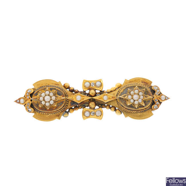 A late Victorian gold split pearl and diamond brooch.