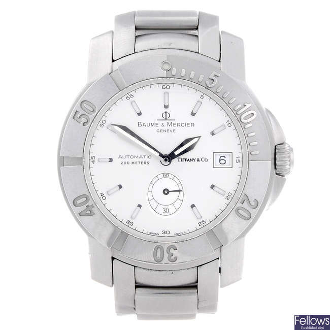BAUME & MERCIER - a gentleman's stainless steel Capeland bracelet watch retailed by Tiffany & Co.