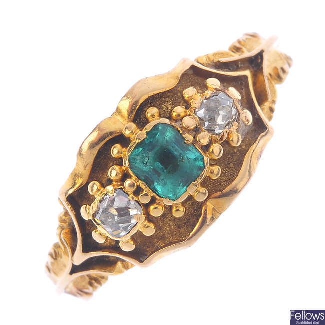 A mid Victorian gold emerald and diamond ring.