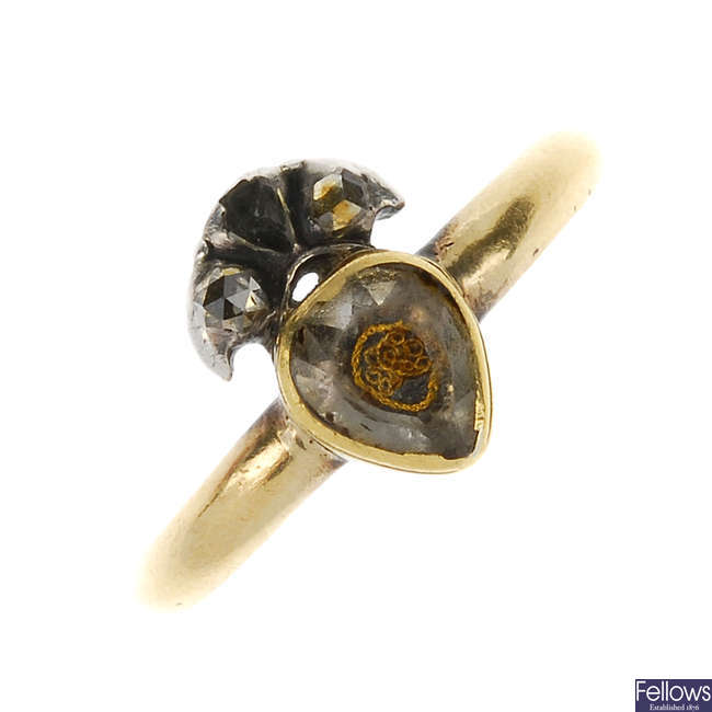 An early 18th century 'Stuart' crystal ring with replacement band.