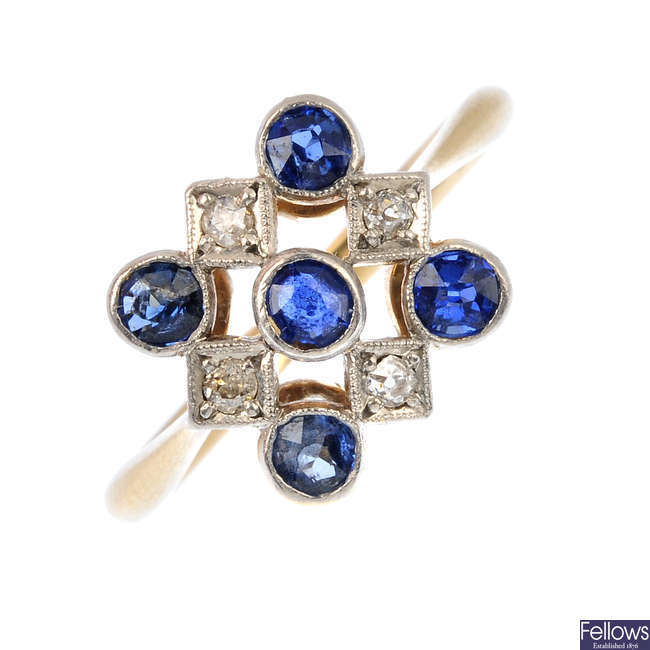 A mid 20th century 18ct gold and platinum, sapphire and diamond dress ring.