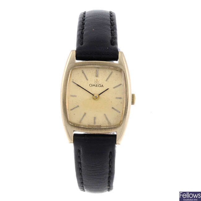 OMEGA - a lady's 9ct yellow gold wrist watch.