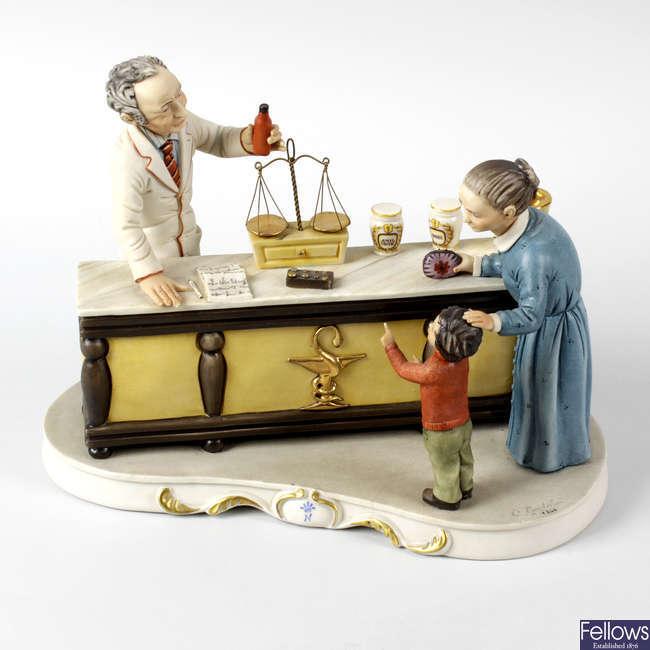 A Capodimonte model of 'The Apothecary's Shop'