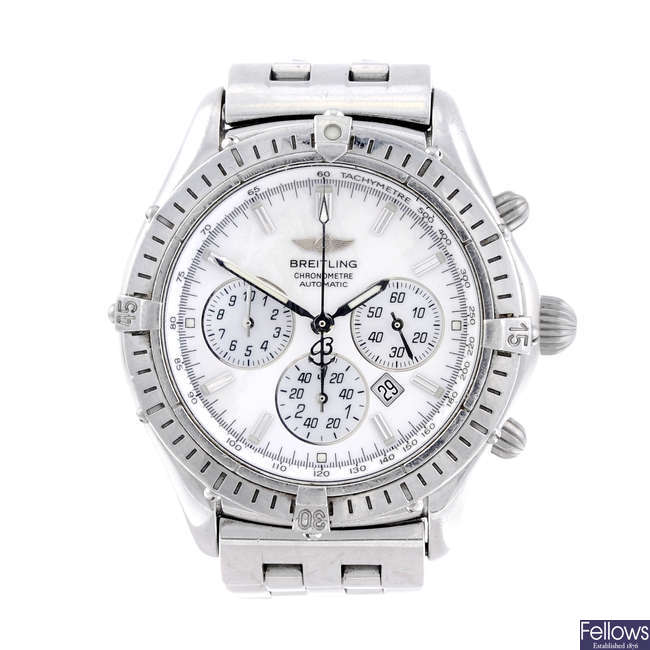BREITLING - a gentleman's stainless steel Windrider Shadow Flyback chronograph bracelet watch.