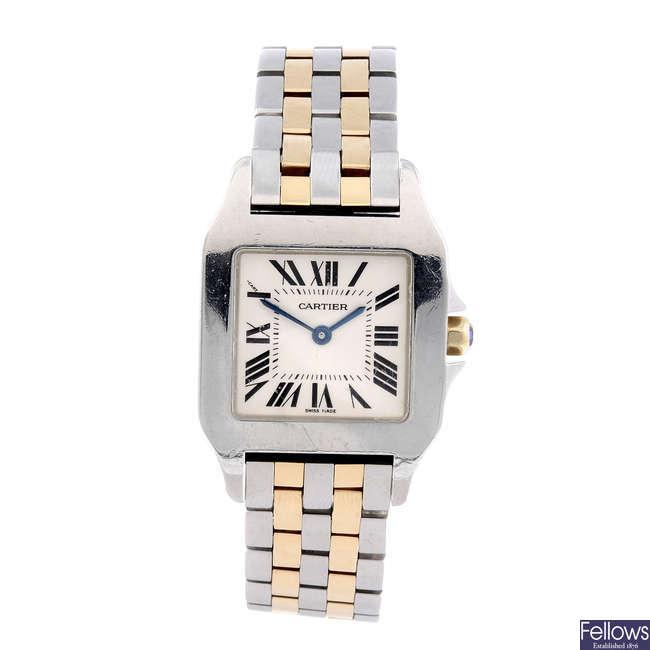 CARTIER - a bi-metal Santos Demoiselle bracelet watch.
