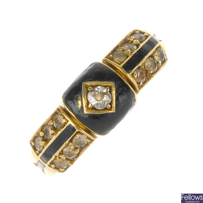 A late Victorian 18ct gold diamond and enamel memorial ring.