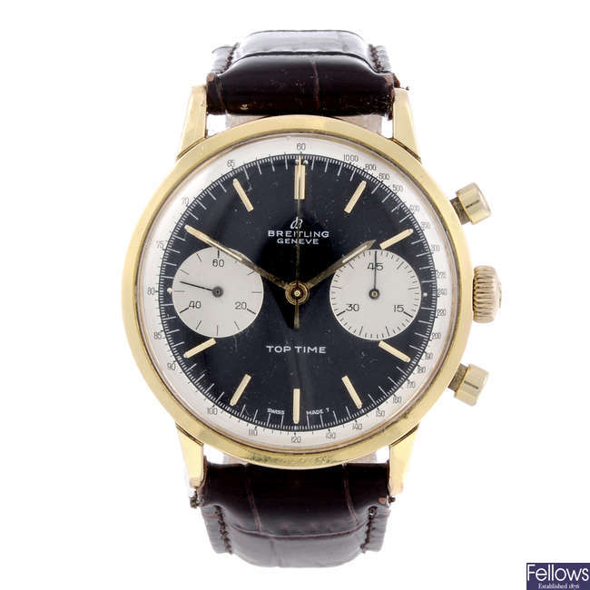 BREITLING - a gentleman's gold plated Top Time chronograph wrist watch.