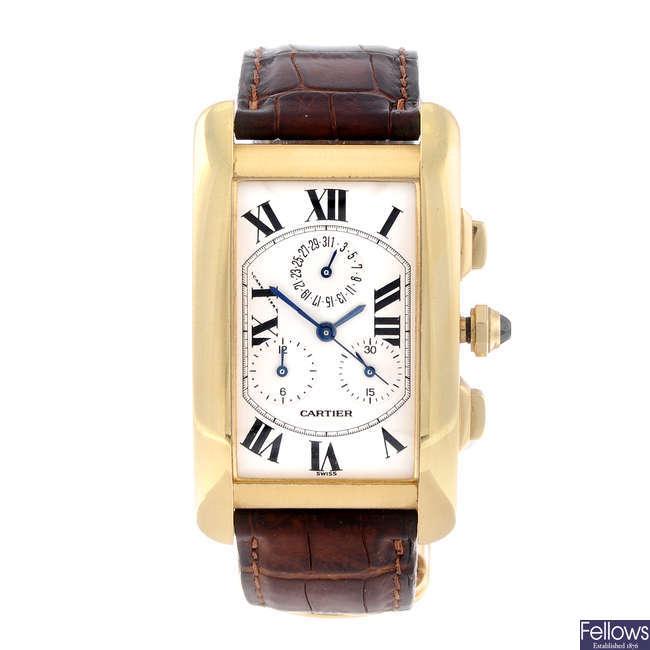 CARTIER - an 18ct yellow gold Tank Americaine chronograph wrist watch.