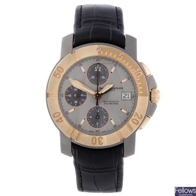 BAUME & MERCIER - a gentleman's titanium Capeland chronograph wrist watch.