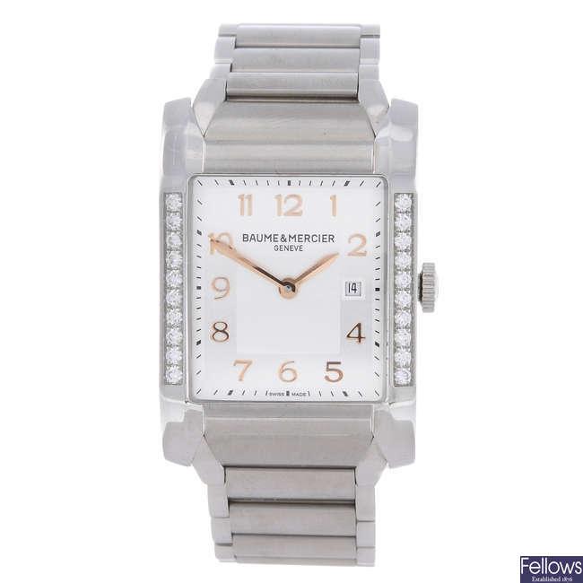 BAUME & MERCIER - a lady's factory diamond set stainless steel Hampton bracelet watch.