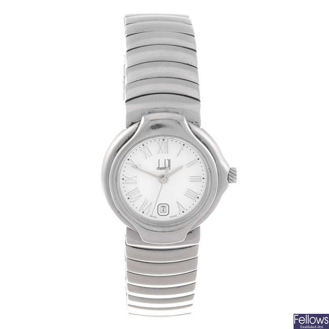 DUNHILL - a lady's stainless steel bracelet watch.