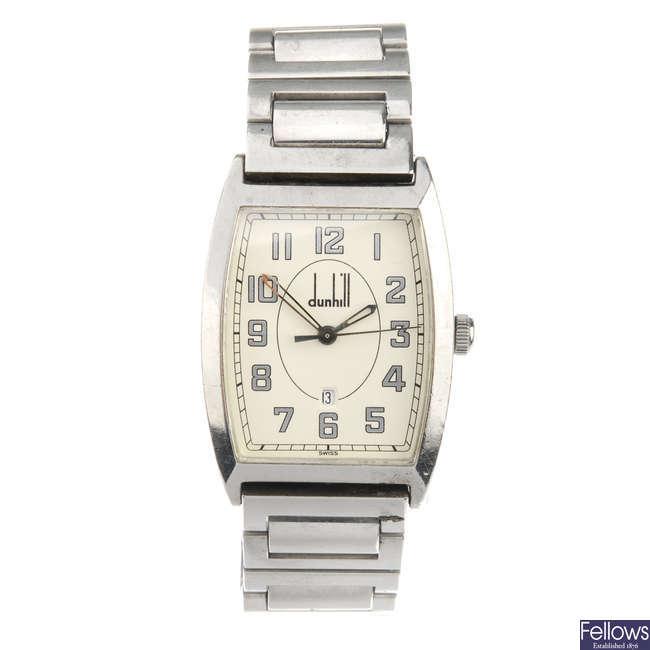 DUNHILL - a gentleman's stainless steel bracelet watch.